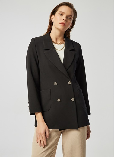 Monamoda Metal Düğmeli Blazer Ceket Siyah